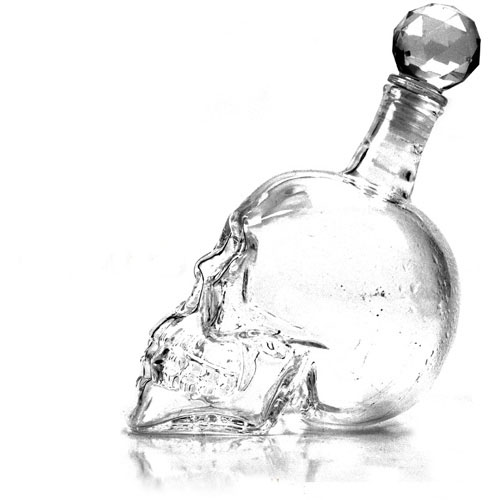 Whiskey Drink Tool kit Ice Cube Soapstone/Crystal Skull Head Bone Cup/Bottle Hot