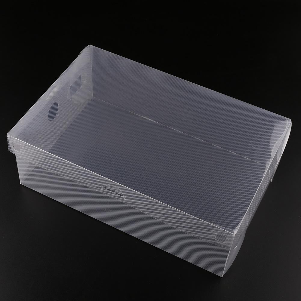 10x foldable stackable clear plastic shoe storage boxes organizer holder bulk ebay. Black Bedroom Furniture Sets. Home Design Ideas
