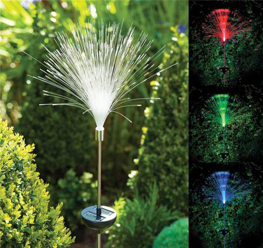 Outdoor Solar Lights Ireland: SOLAR Power Color Change Fibre Optic Garden Outdoor Yard