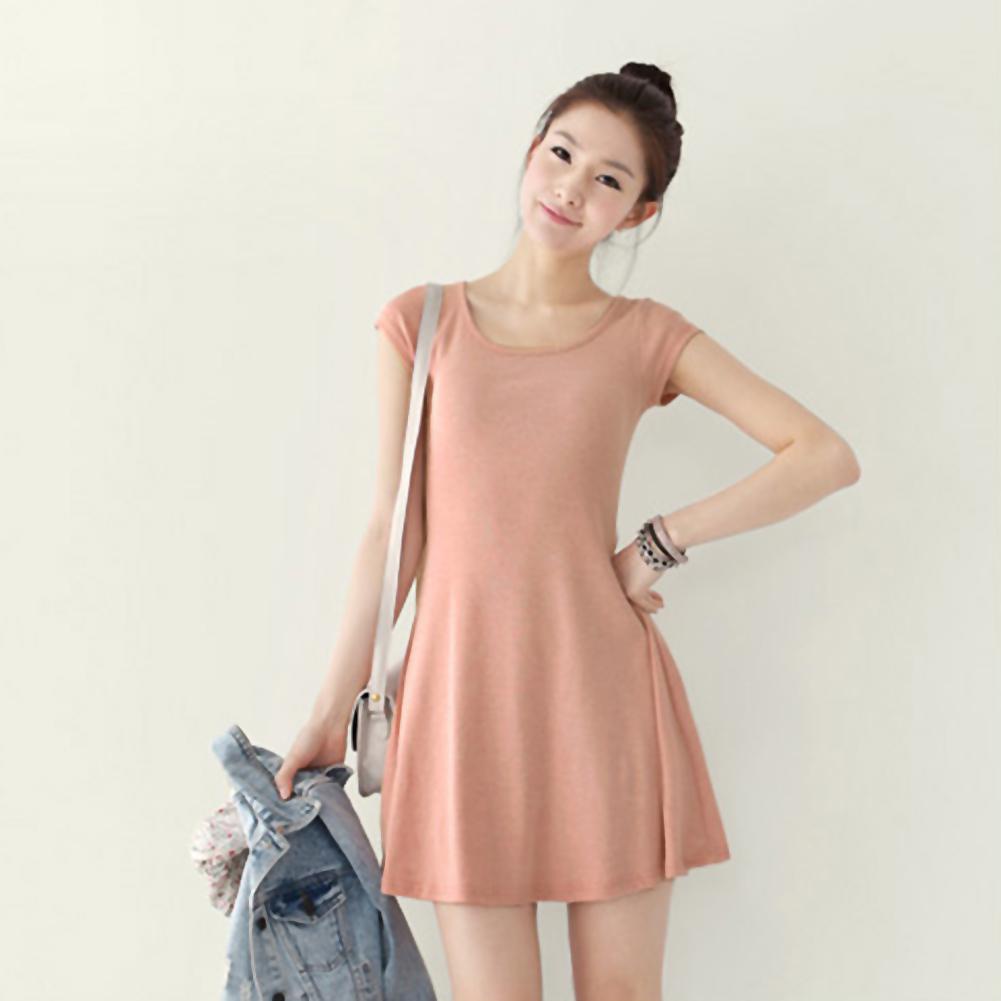 Women Girl Korean Style Solid Plain Casual Soft Summer Slim Mini ...