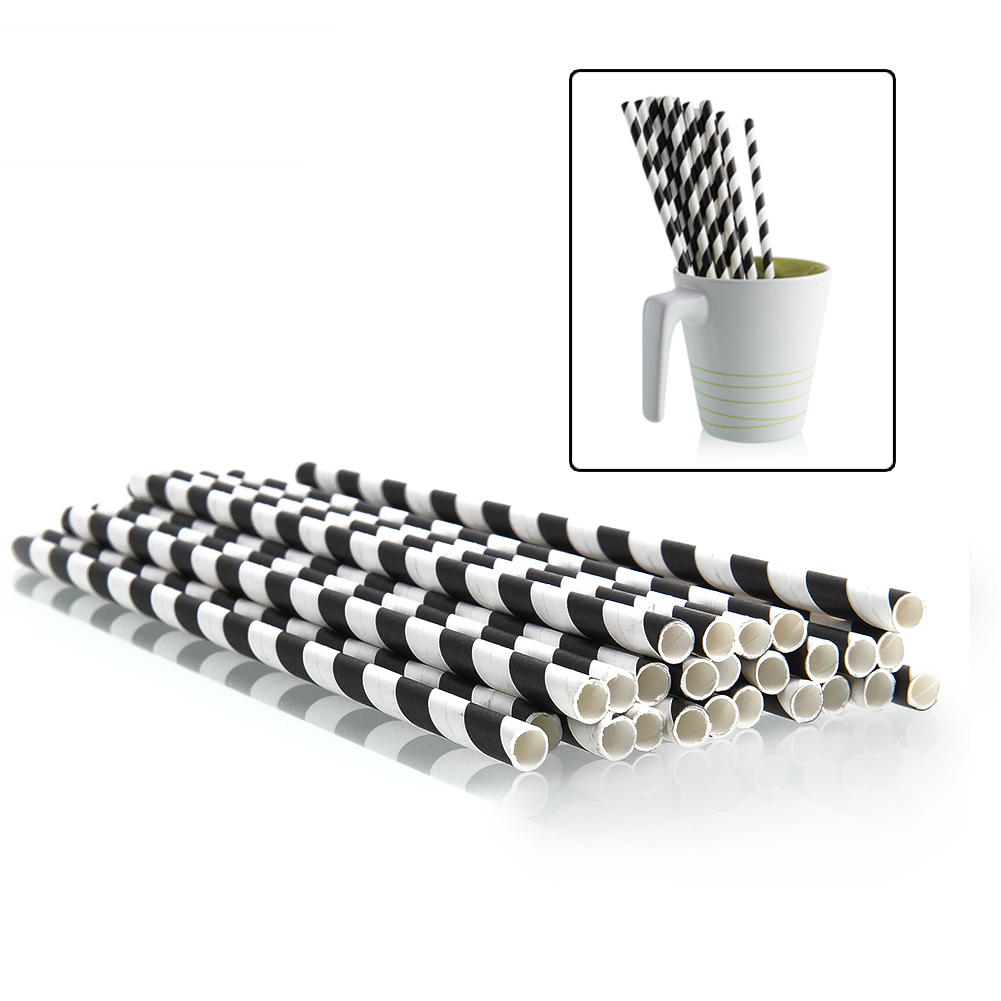 25pcs Vintage Colorful Striped Paper Drinking Straws Wedding Birthday Party