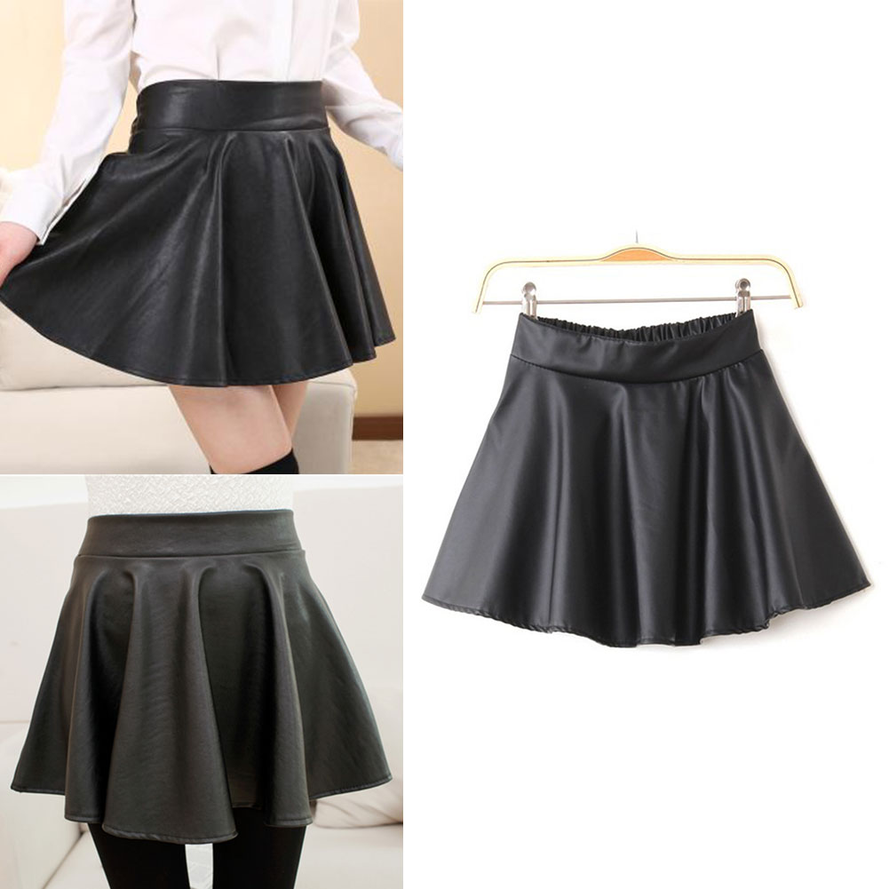flared womens black faux leather mini skirt high