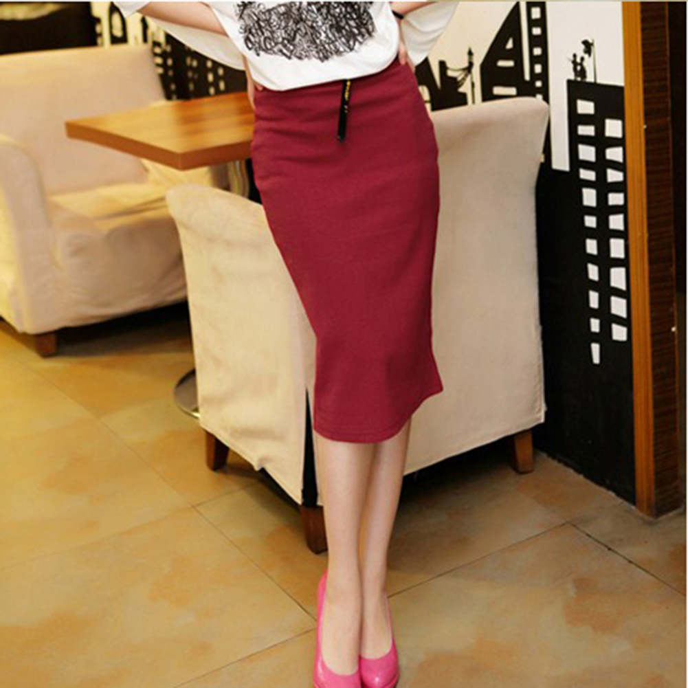 Womens Knee Dress High Waisted Belted Pencil Skirt Stretch Bodycon ...