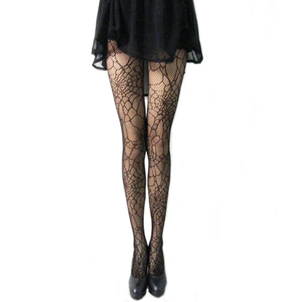 Sexy Fishnet Pattern Bodycon Jacquard Slim Women Ladies Cobweb Black Stockings