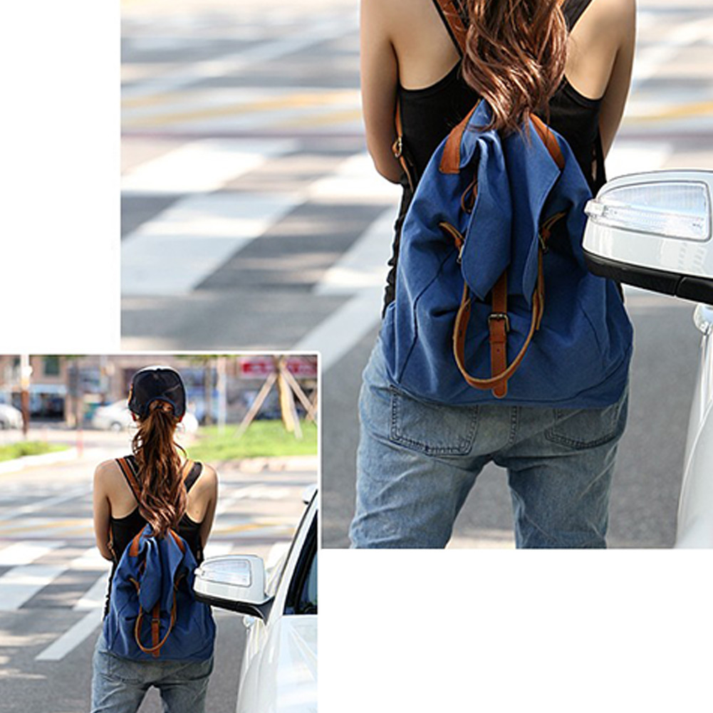 Womens Casual Girls Canvas Satchel Rucksack Travel Schoolbag Bookbag Backpack