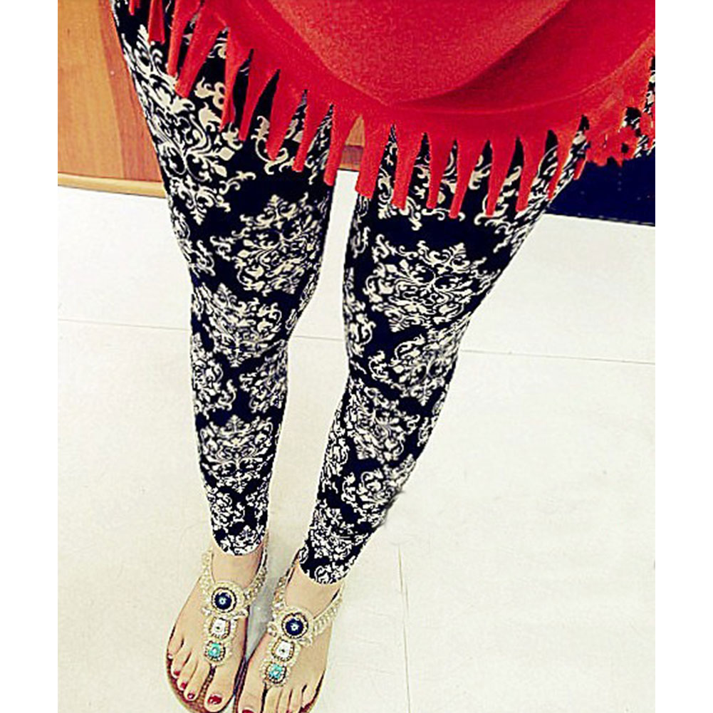 Chic Women Floral High Elasticity Leggings Stretchy Pencil Skinny Black White