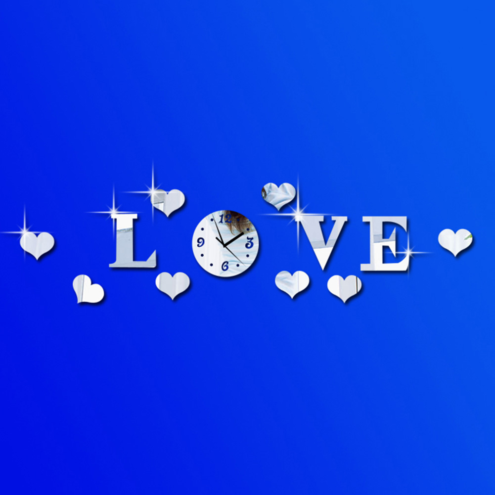 New DIY Modern Acyrlic Mirror Office Wall Clock Sticker Clock Movement
