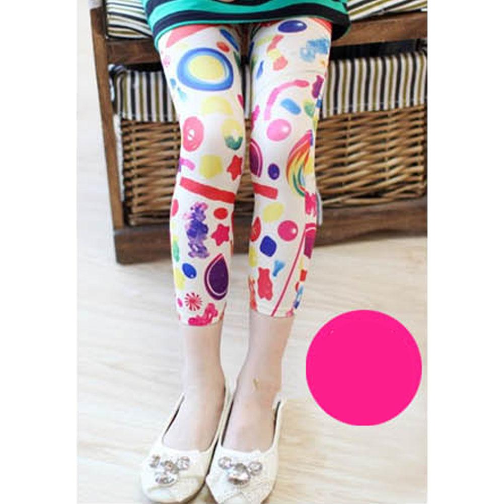 NEW Kids Stretch Skinny Leggings Velvet Strawberry Floral Picture Girls