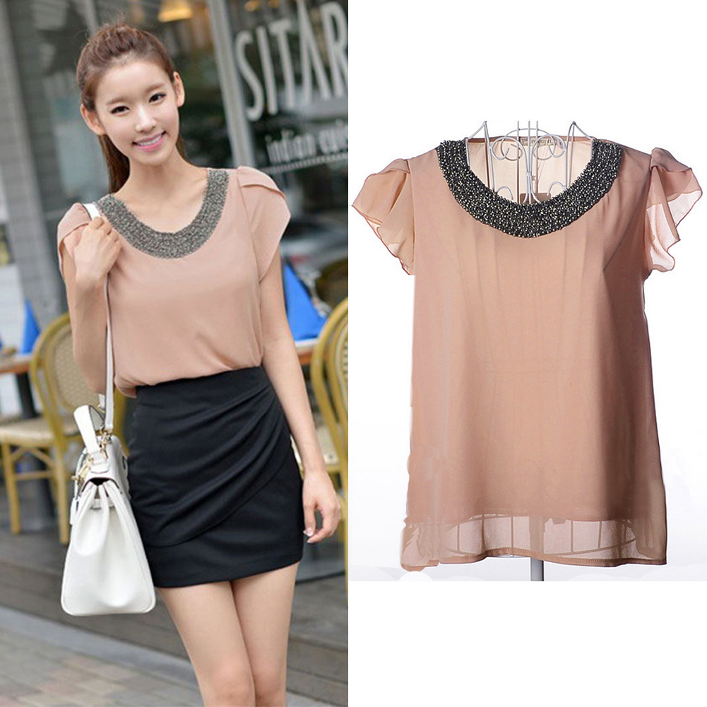 Hot New Fashion Women Lady Girl  Bubble Sleeve Summer Chiffon Blouse Tops Shirt