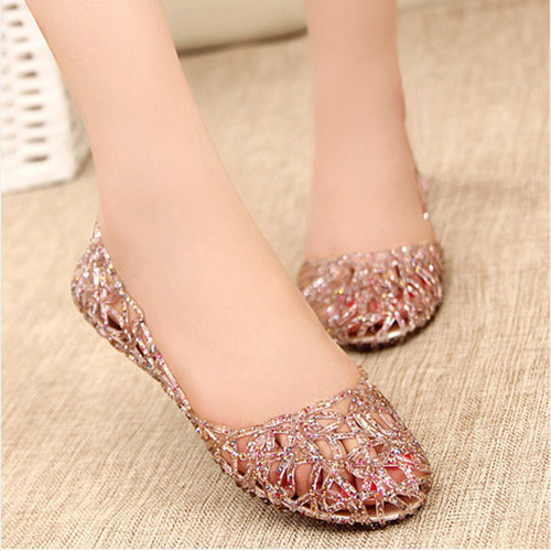 Summer Women Girl Ventilate Crystal Pebble Hollow Out Nest Plastic Sandal  Shoes