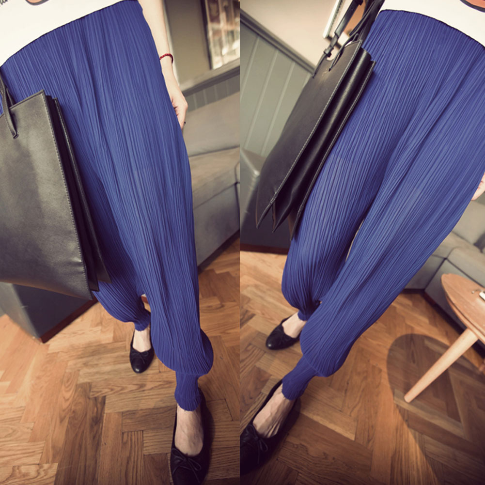 Hot Womens Lady Fashion Wide Leg Chiffon Pants Long Loose wrinkle Trousers