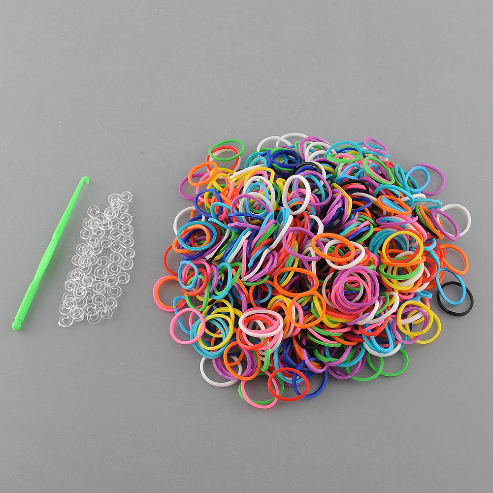 """New 600 Pcs DIY Rainbow Rubber Elastic Loom Bands Bungee 25 """"S"""" Clips -"""
