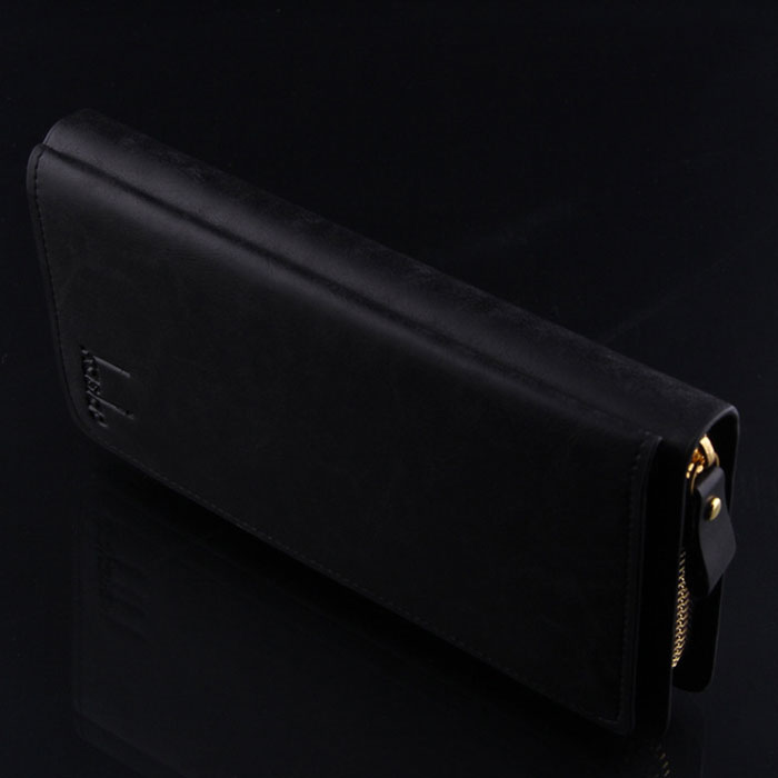 New Fashion Men's Leather Credit Card Holder Clutch Wallet Purse Handbag Black