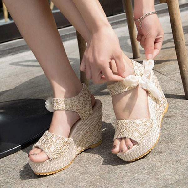 Summer Womens Wedge Platform Sandals Bowknot Ankle Lace Strap Shoes Beige