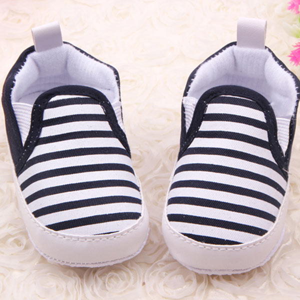 Baby Kids Toddler Unisex Boys Girls Blend First Walkers Navy Stripe Cloth Shoes