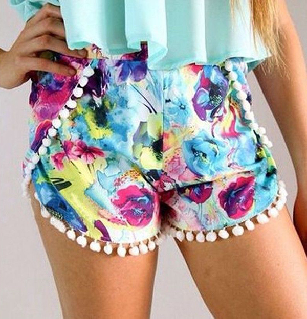 Hot Fshion Womens Girl High Waisted Tassel Print Beach Casual Gym Shorts S M L