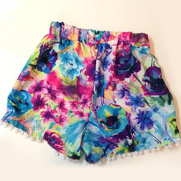 Hot Fshion Womens Girl High Waisted Tassel Print Beach Casual Gym Shorts S M L