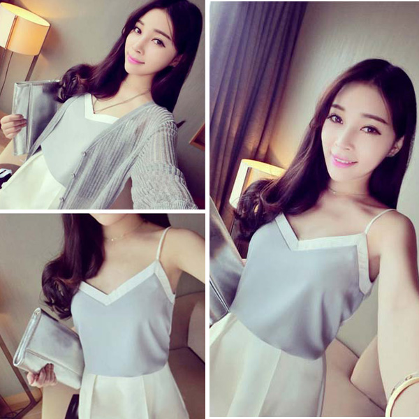 Fashion NEW Women Summer Casual Chiffon Loose V Neck Tank Shirt Blouse