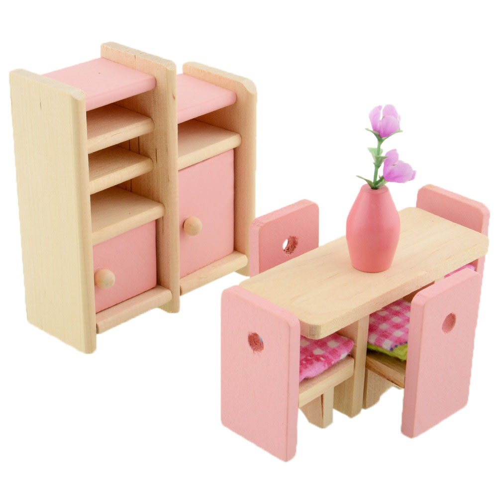 Pink pretend play wooden dolls house furniture miniature 6 room kids gifts ebay Dolls wooden furniture