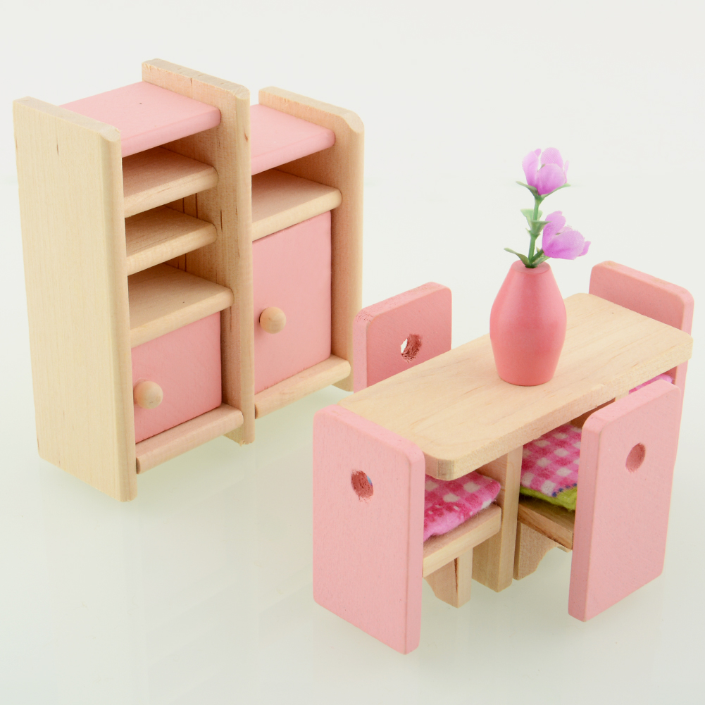 Pink pretend play wooden dolls house furniture miniature 6 room for kids ebay Wooden childrens furniture