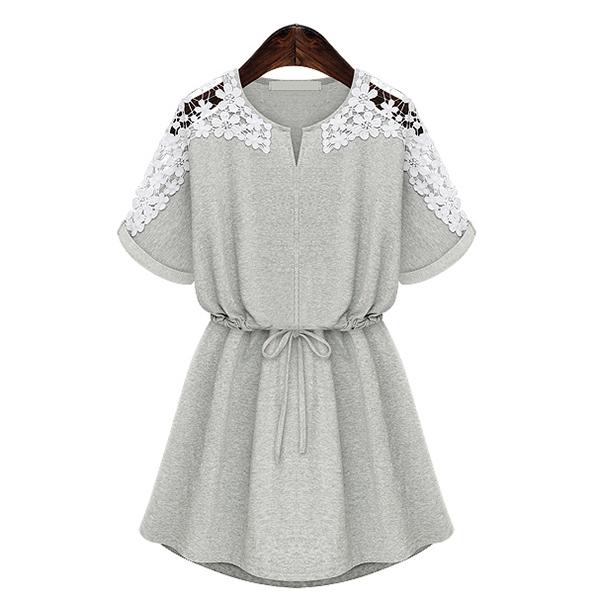Hot Sale Women Lace Floral Short Sleeve vintage Cocktail waist dress Dress
