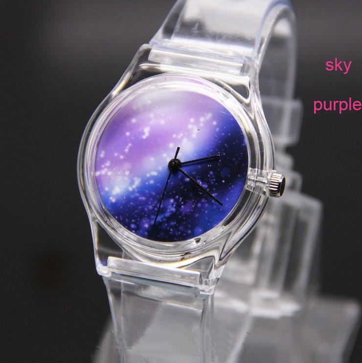 Durable White Men Women Unisex Transparent Plastic PVC Wrist Watch Quartz