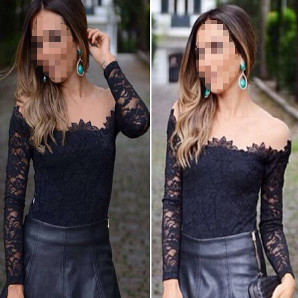 Fashion Womens Casual Off-Shoulder Embroidery T-Shirt Blouse Lace Tops