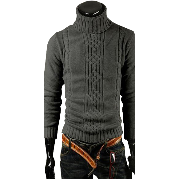 Hot New Men's High-necked Long Sleeve Fawn Printing Knit Sweater Coat Cardigan
