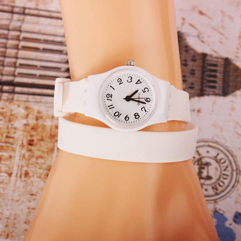 Fashion Women Silicone Quartz Double Two Circles Long Band Wrist Watch Gift