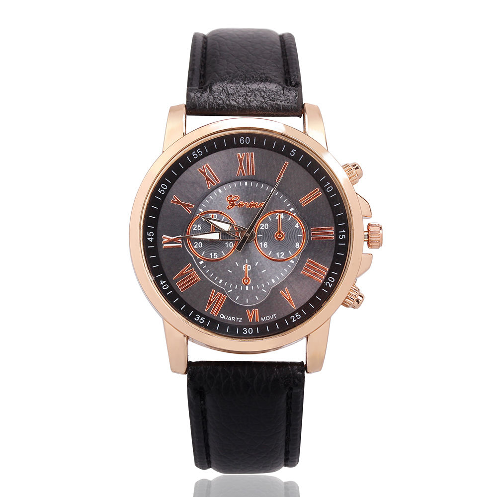 Fashion Women Lady Girl Roman Numerals Leather Band Quartz Wrist Watch