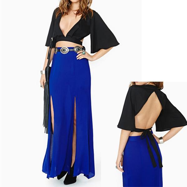 Fashion Women Lady Deep V Shirt Long Sleeve Blouse Backless T-Shirt Casual Tops