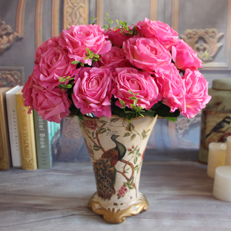 Wedding 9 Rose Heads Petal Bouquet Fake Peony Artificial Flower Cream Rose