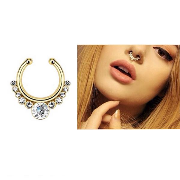Fake Gem Septum Ring Non Piercing Crystal Nose Ring Hanger ...
