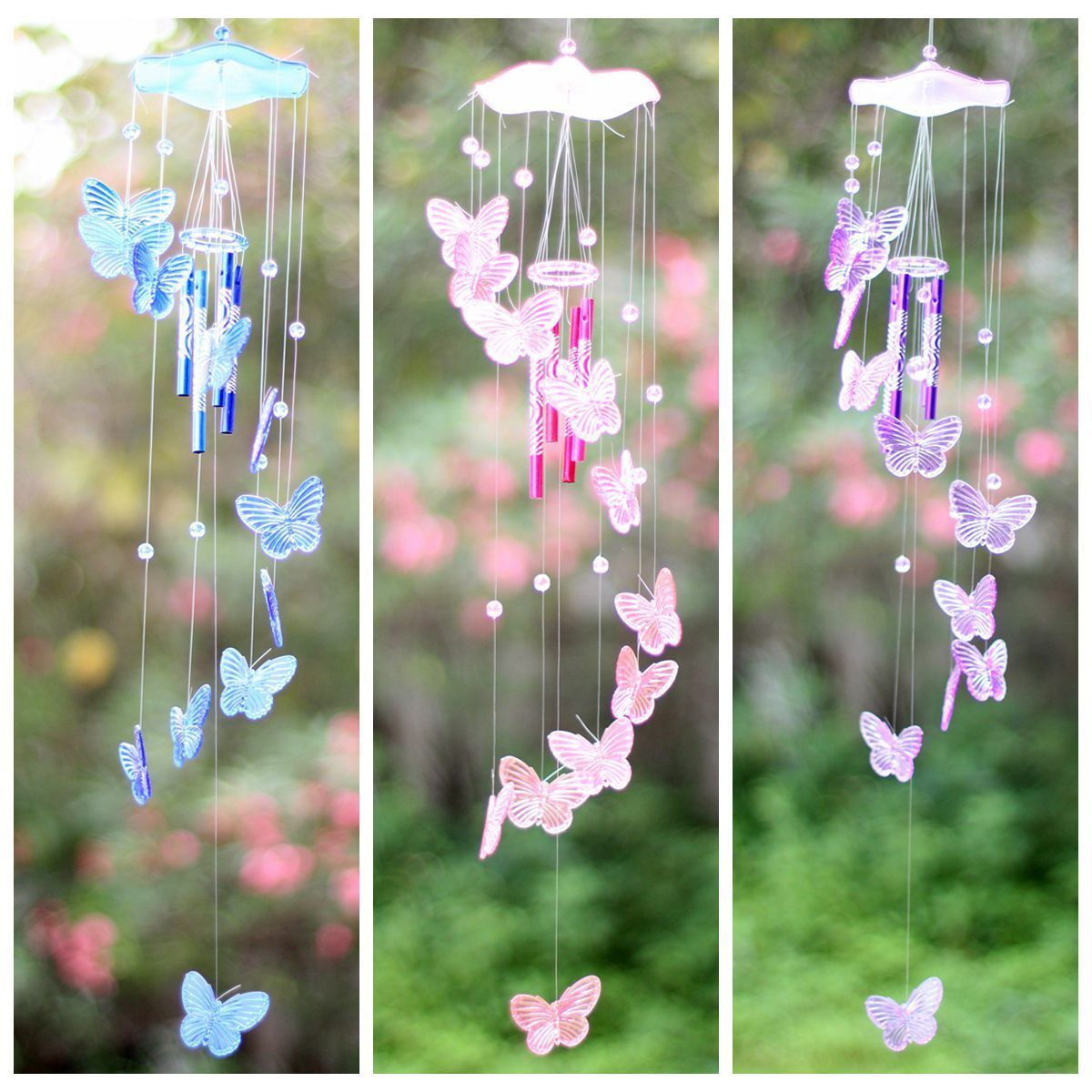 Crystal Erfly Wind Chime Bell Garden Ornament Gift Yard