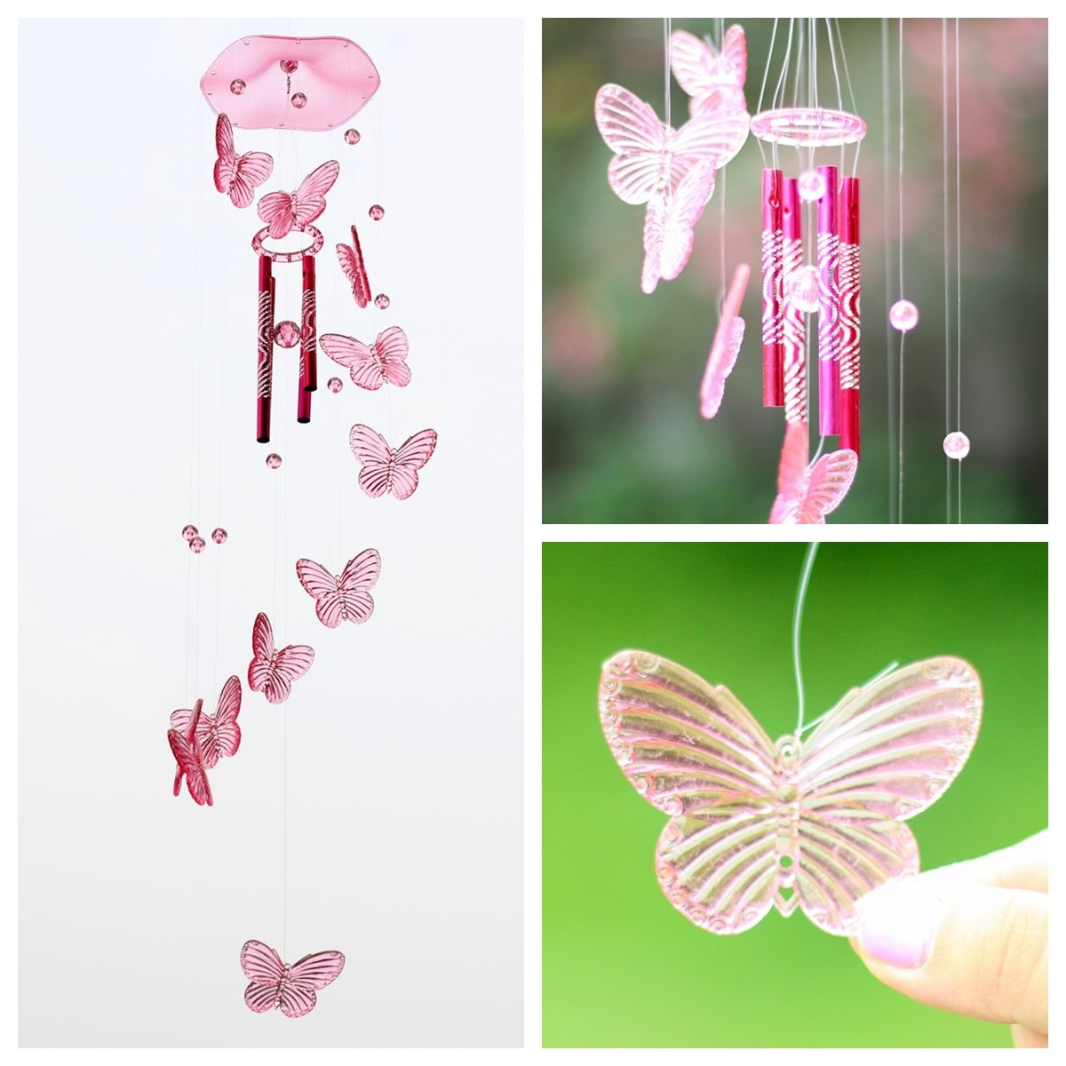 Crystal Erfly Mobile Wind Chime Bell Ornament Lucky Gift