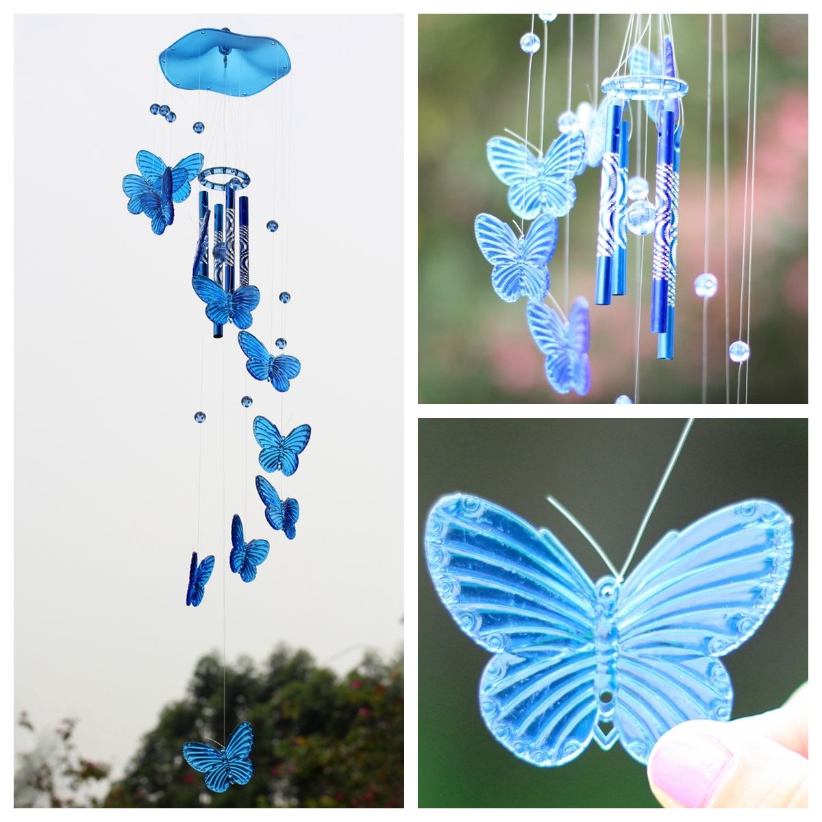 Crystal butterfly wind chime bell garden ornament gift for Outdoor butterfly ornaments