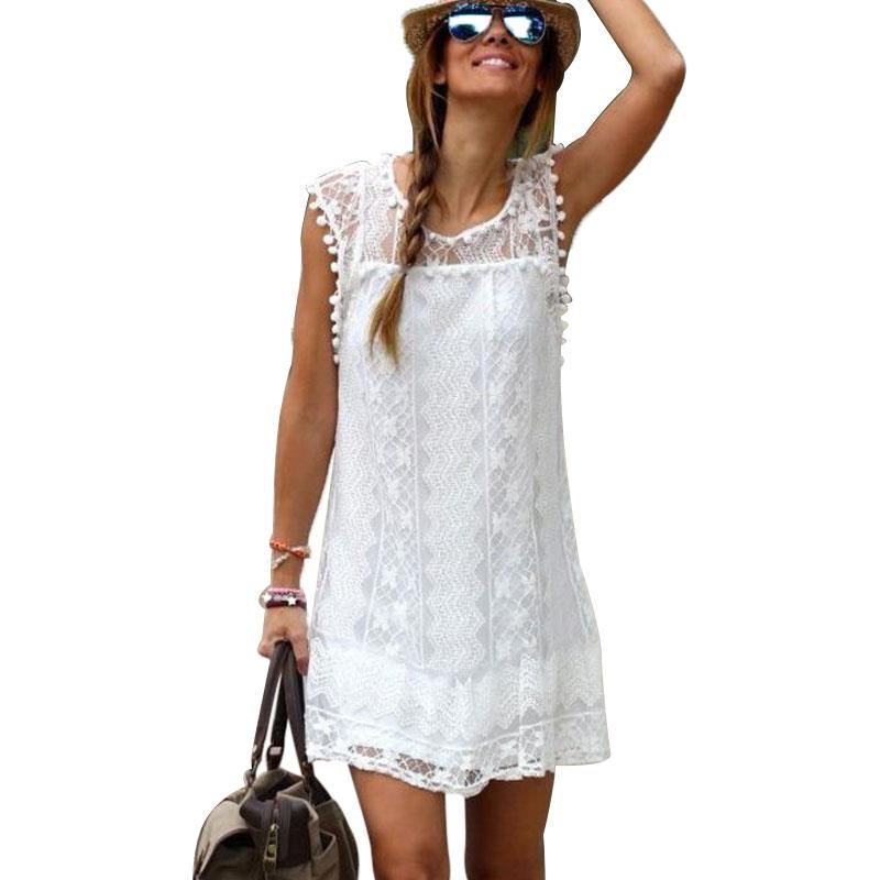 Women Lady Celeb Lace Party Summer Sexy Casual Shorts Dress White Tops