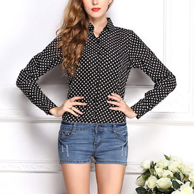 Women polka dot long sleeve button down chiffon top blouse for Button down polka dot shirt