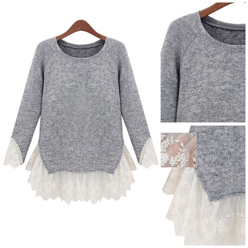Women Lady Long Sleeve O Neck Top Lace Blouse T-Shirt Pullover Knitwear Sweater