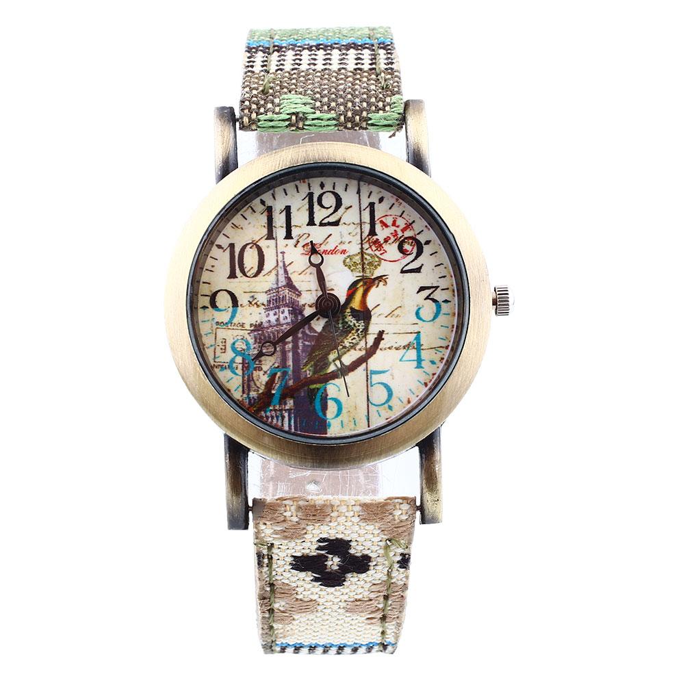 womens flower faux leather denim analog quartz wrist
