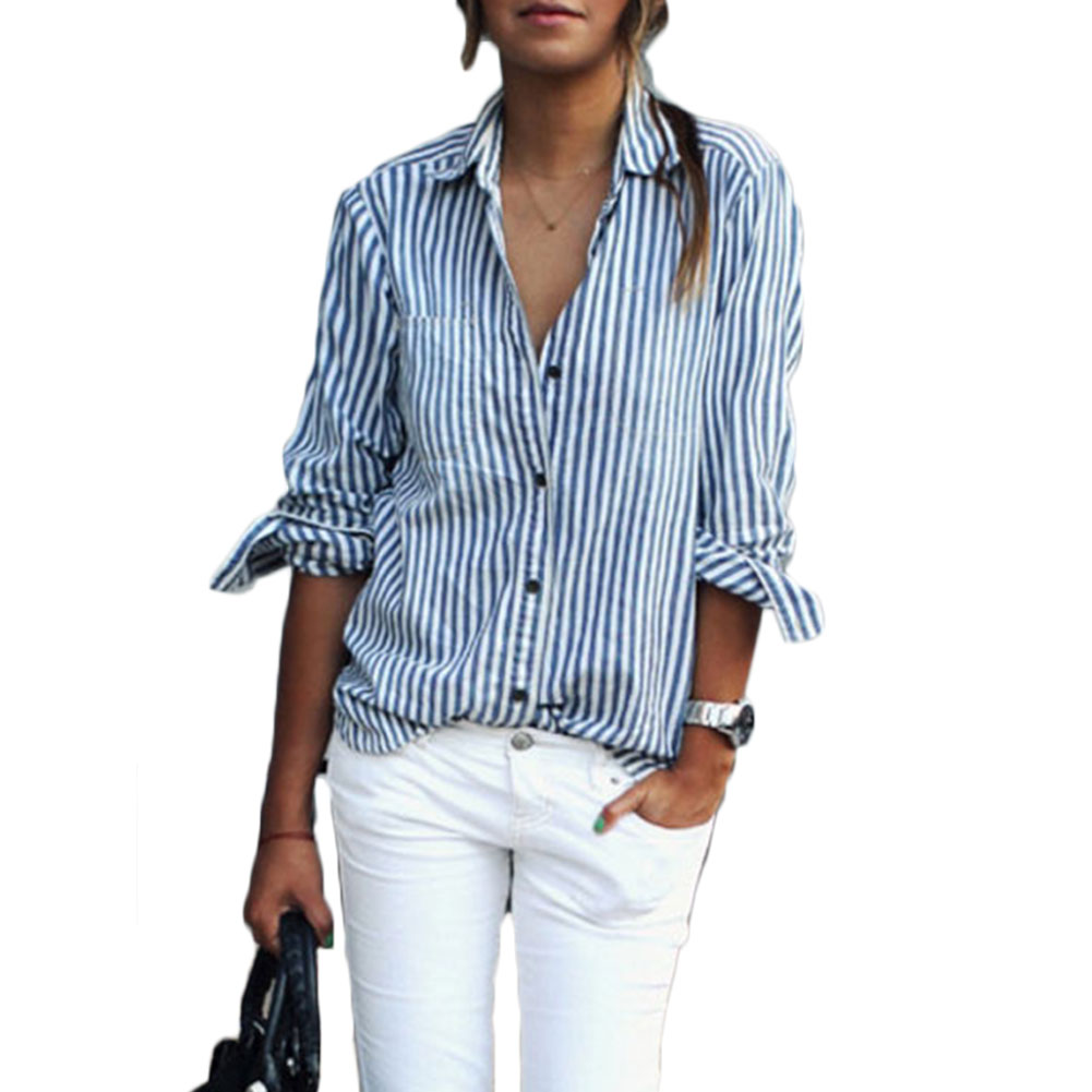 Women stripe button down stand collar long sleeve blouses for Button collar t shirt