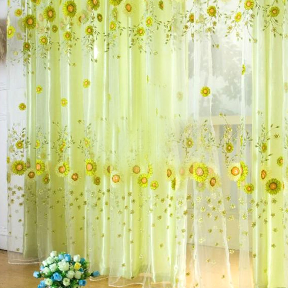 Floral Window Curtain Sheer Drapes Voile Valances Sun Flower Light Yellow Ebay