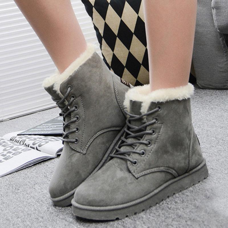 Fashion Women Fur Lace Up Warm Sneakers Lady Stylish Snow