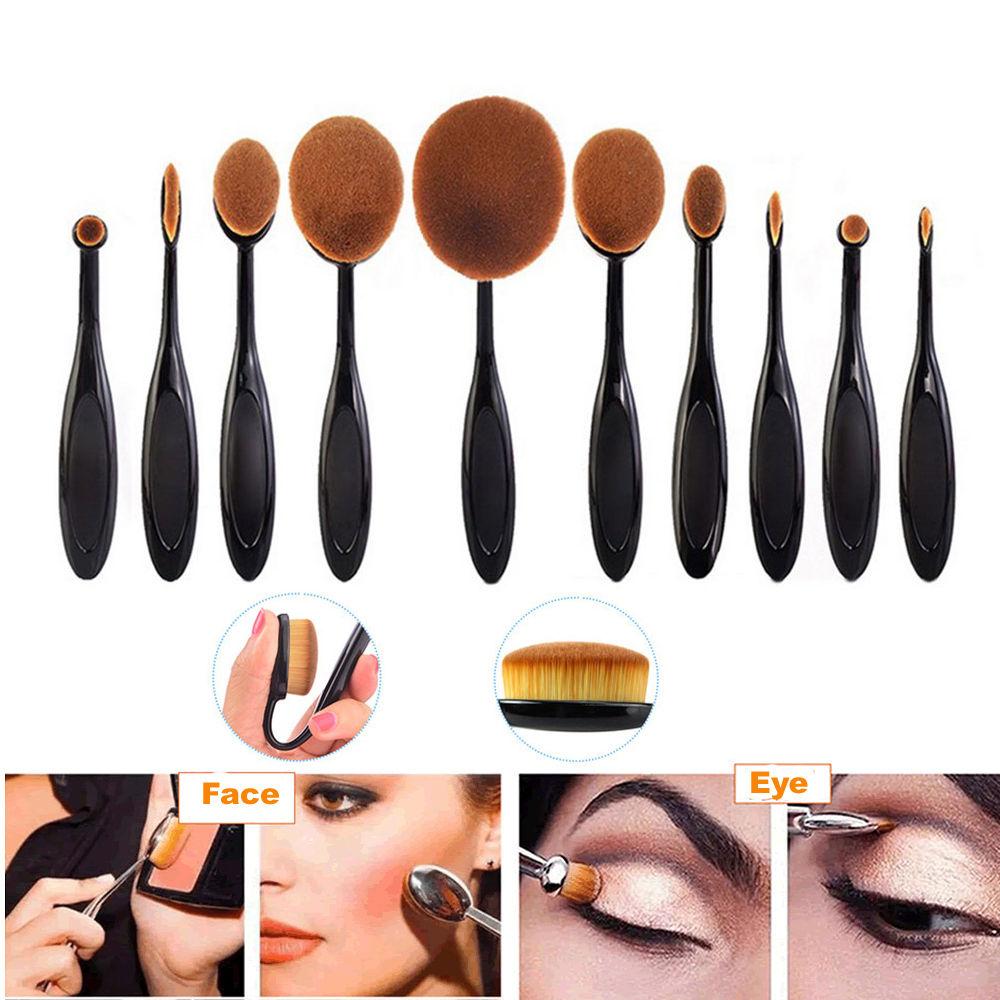 Fashion 10pcs Toothbrush Foundation Brushes Beauty +Eyeliner Pen Eyeshadow Box