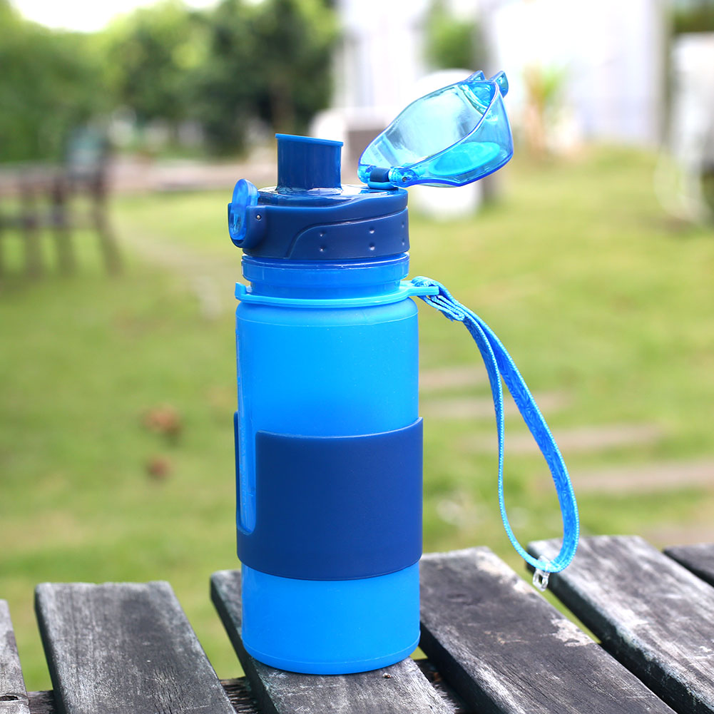 Sl Sports Bottle Rnd 650 Long: Outdoor 350ML/500ML/650ML Silicone Foldable Water Drinking