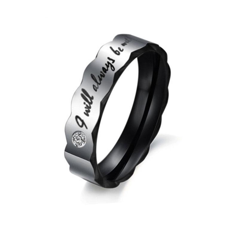 simple titanium steel wedding engagement promise rings