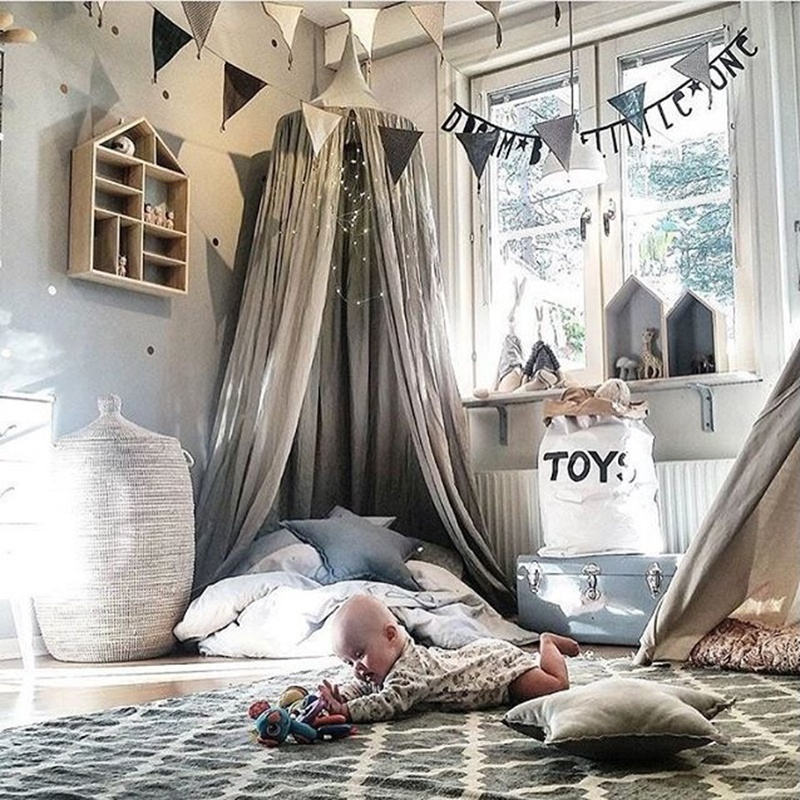 Kids Baby Bedding Round Dome Bed Canopy Netting