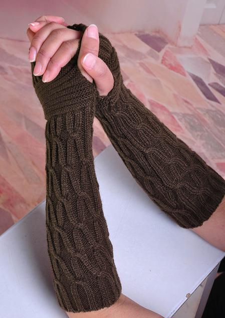 Women Knitted Fingerless Long Half Sleeves Arm Warmers ...