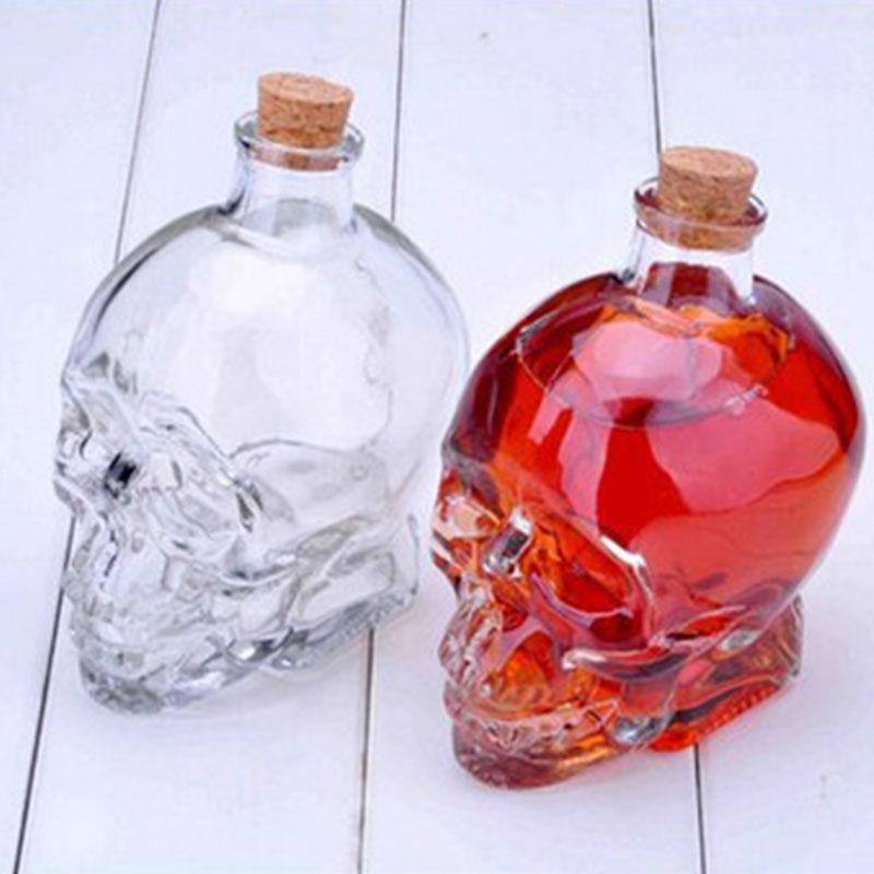 180&350ML Crystal Skull Head Vodka Whiskey Shot Home Wine Glass Bottle Decanter