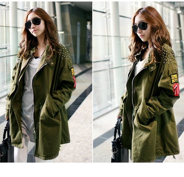 neu damen jacke mantel tailliert trechcoat military parka army gr n mantel ebay. Black Bedroom Furniture Sets. Home Design Ideas